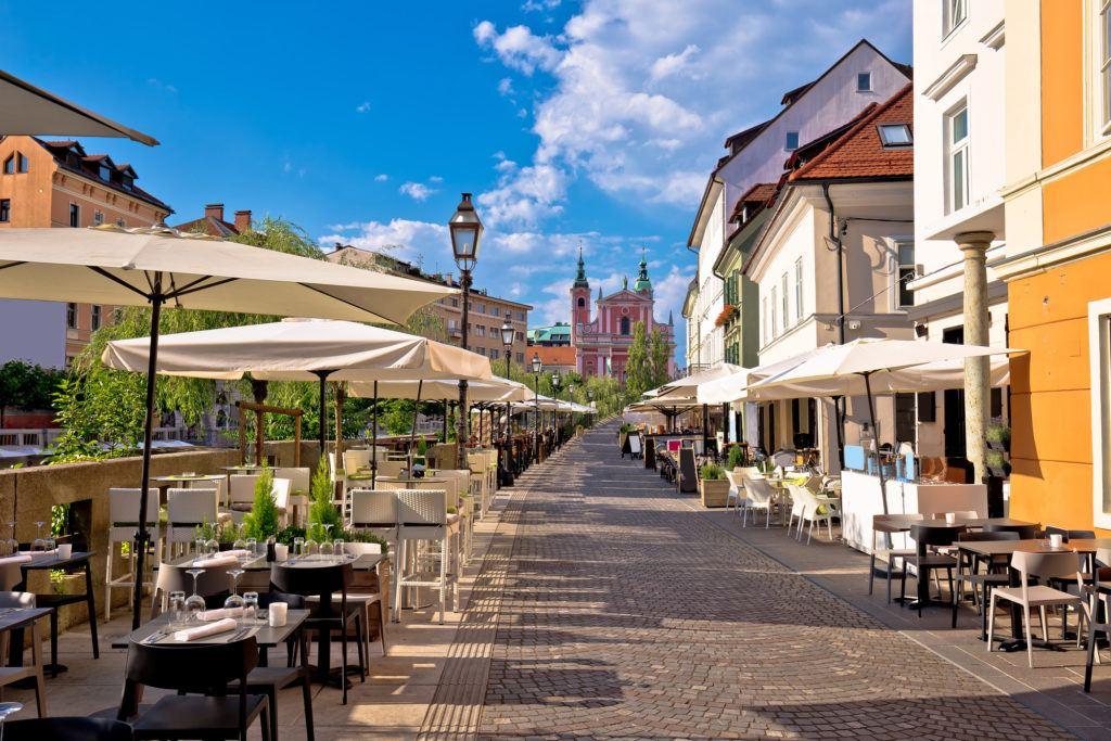 Lublaň, nábřeží, Slovinsko
