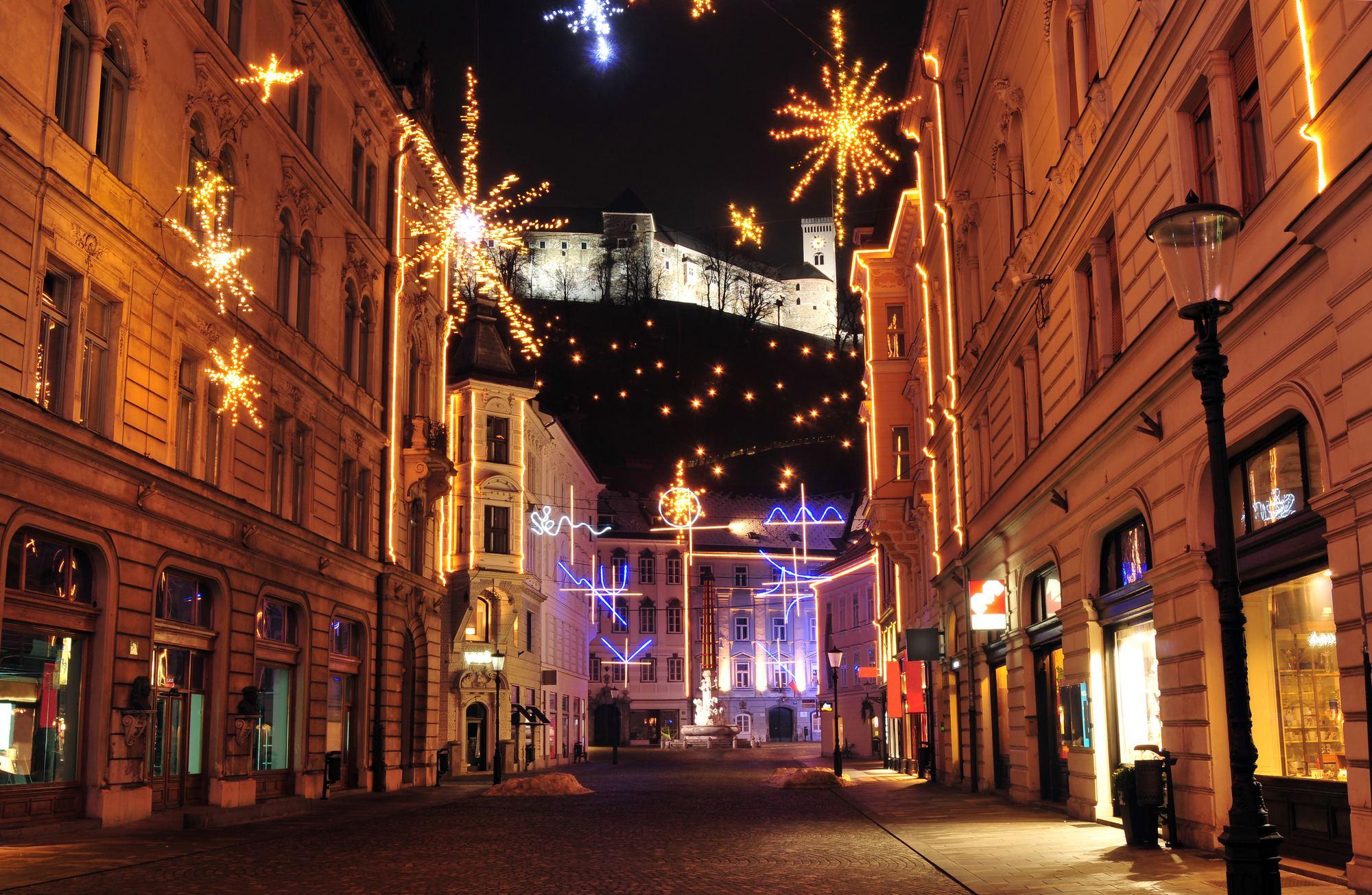 Vánoční Lublaň, Slovinsko.