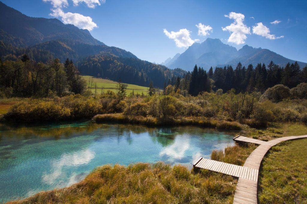 Zelenci, Kranjska Gora, Slovinsko. Foto: Boris Pretnar