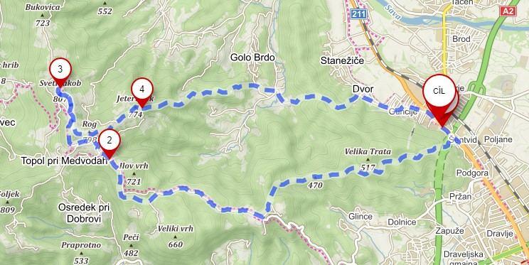 Trasa na vyhlídkový kopec sv. Jakoba