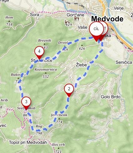 Trasa na vrchol sv. Jakoba